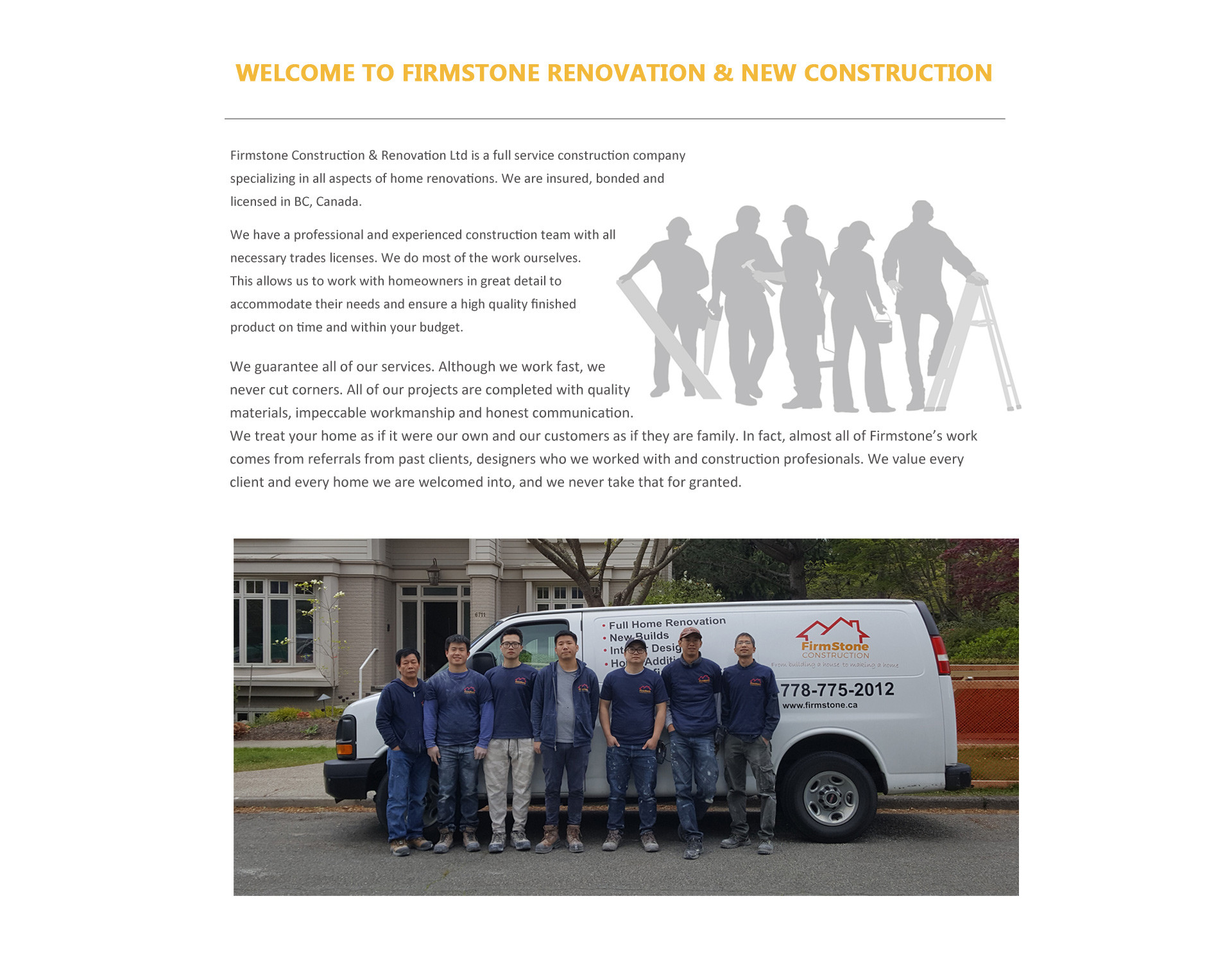WELCOME TO FIRMSTONE RENOVATION & NEW CONSTRUCTION